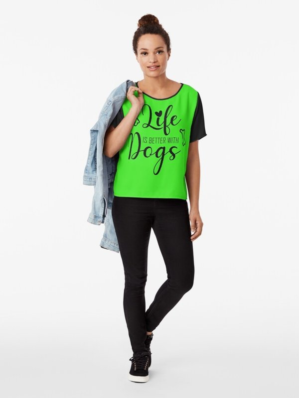 Chiffon Top - Life is better with Dogs.. nur 31,81 € / - 2386 -